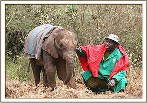Elgon with one of her keepers