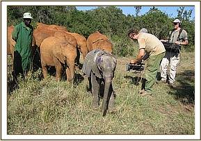 Chyulu with the other orphans being filmed by BBC