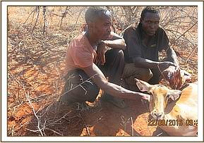 poachers with impala and dikdik meat and snares