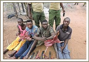 Arrested bushmeat poachers at Galana conservancy