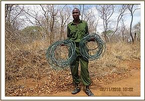 assorted snares recovered during patrols