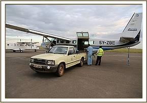 Ankunft am Wilson-Flugplatz