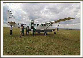 Arrival at the airstrip