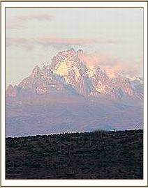 The view of Mt. Kenya while flying past