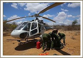 Loading Kiasa into the helicopter