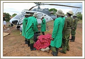 Offloading Mapia from the helicopter at the Nursery