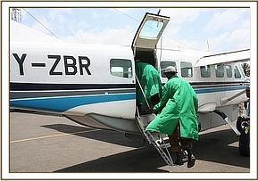 The Keepers boarding the plane headed to Amboseli