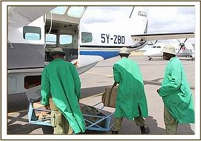 Boarding the plane to fly to Tsavo
