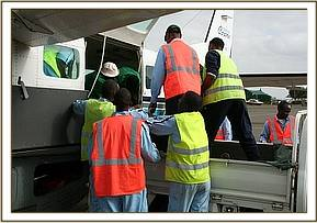 Removing Wasessa from the plane at Wilson Airport Nairobi