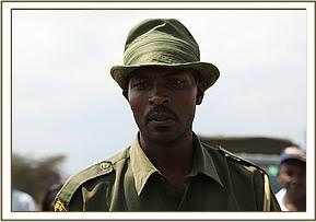 One of the KWS rangers who helped in the tiny calf's rescue